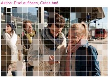 """Telekom """"Pixel auflösen-Aktion"""" - 1 Euro für einen guten Zweck"""