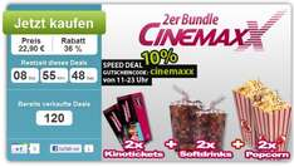 2x Cinemaxx Kinotickets inkl. Popcorn & Softdrink für 20,61€ *Update* Kinoticket & Popcorn für 7,90 €