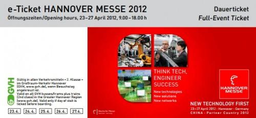 Gratis Ticket für die Hannover Messe 2012 mit Aktionscode