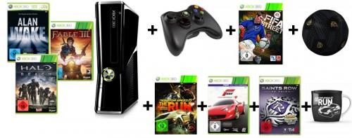 Mega-Bundle: Xbox 360 250GB + 7 Spiele + 2. Controller + 2 Fanartikel für 329 € - 26% Ersparnis *Update*