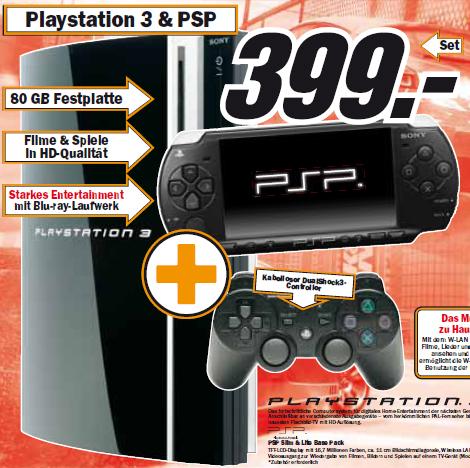 Neuer Media Markt Prospekt - PS3 + PSP für 399€
