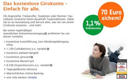 Netbank-Girokonto für Neukunden mit 70 € Prämie