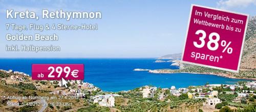 1 Woche Kreta im 4 Sterne Hotel mit Halbpension für 299 €
