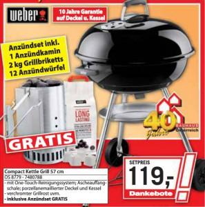 Holzkohlegrill Weber Compact Kettle (57 cm) + Anzündset für 119 € bei Bauhaus *Update* für 107 € bei Hornbach