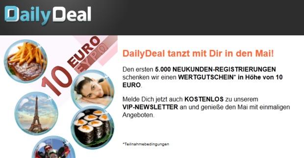 10 Euro DailyDeal Gutschein für Neukunden
