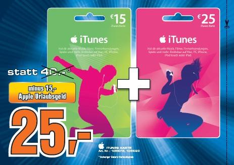 """Saturn """"Urlaubsgeld"""" Gutscheine im Großraum Wien - z.B. iTunes Guthaben mit 38% Ersparnis"""