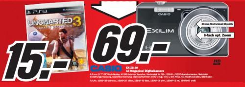 Media Markt: Uncharted 3 (PS3) für 15 € und Casio EX-ZS 20 für 69 €
