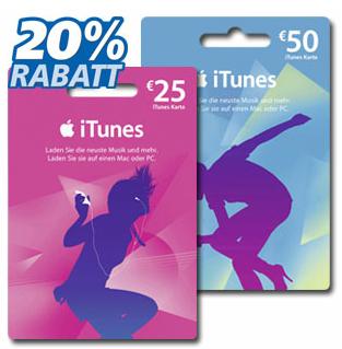 20% Rabatt auf iTunes-Karten bei Real