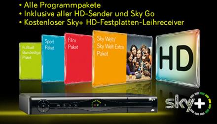 Top! Sky-Komplettpaket inkl. HD-Sender, Sky Go & HD-Festplattenreceiver für 33,90 € / Monat
