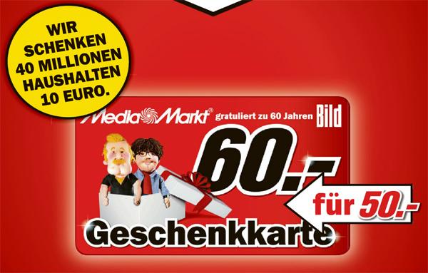 60 Euro Media Markt Gutschein für 50 Euro