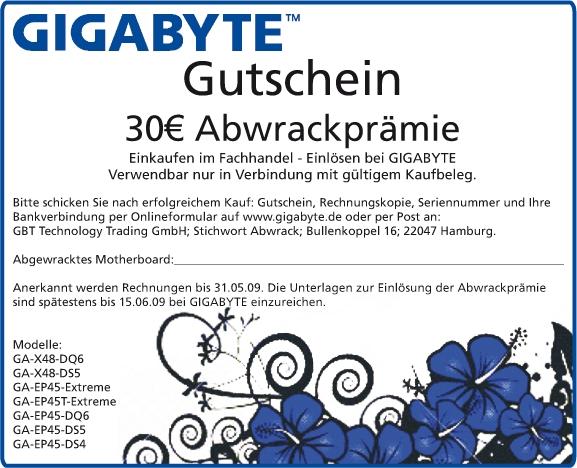 30€ Cashback Aktion von Gigabyte