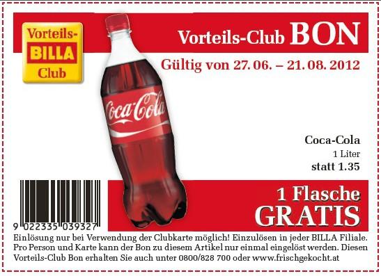 Gratis Flasche Coca Cola (1L) bei Billa