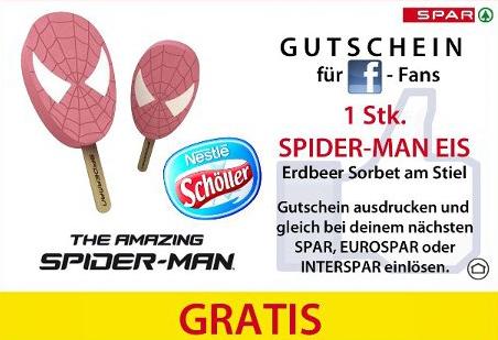 Spider-Man Eis von Nestlé kostenlos bei Spar - ab 09. Juli