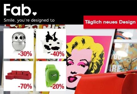 Groupon und DailyDeal: Fab.de Gutscheine mit hohen Rabatten - z.B. 80€ Gutschein für 30€!