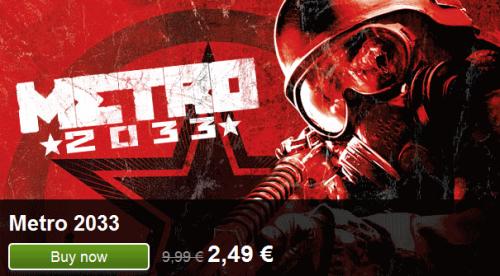 Metro 2033 (Steam-Key) für 2,00 € statt 9 €