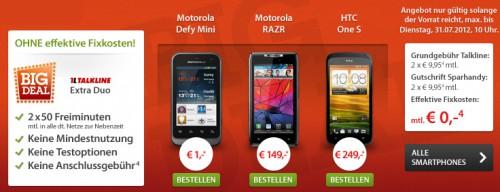 Wieder da: Big Deal von Sparhandy - kostenlose Handyverträge mit Smartphones ab 1 €