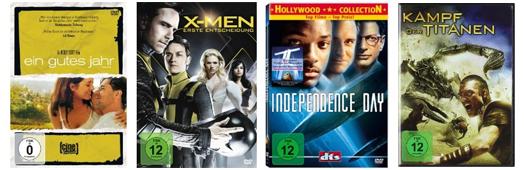 Filmangebote bei Amazon: z.B. Blu-rays für 7,97 € oder 4 DVDs für 20 €