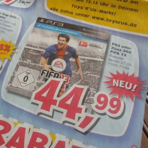 """FIFA 13 (X360 und PS3) ab Releasetag für 40 € statt 59 € bei Toys""""R""""Us *Update* Nochmal 5 Euro günstiger!"""