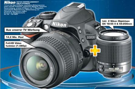 Digitale Spiegelreflexkamera Nikon D3100 mit 2 Objektiven für 449 € *Update* jetzt nur noch 349 € - 19% sparen