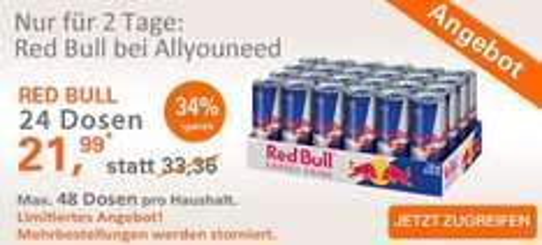 24er Tray Red Bull für effektiv 18,89 € beim Online-Supermarkt AllYouNeed