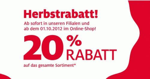 20% Rabatt in allen C&A Filialen und ab 01.10.2012 auch online