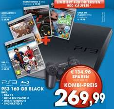 PS3 Slim (160 GB) mit FIFA 13, Uncharted 3, Gran Turismo 5 & Little Big Planet 2 um 270 €