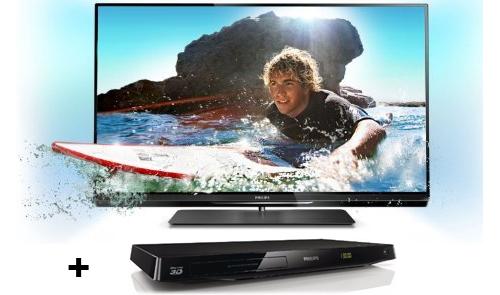 Philips 37PFL6007K (3D, Ambilight, Triple-Tuner, Smart TV) + 3D-Blu-ray-Player für 649 €
