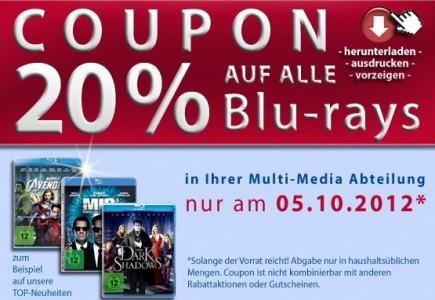 Müller: 20% Rabatt auf das gesamte Blu-ray-Sortiment - nur heute