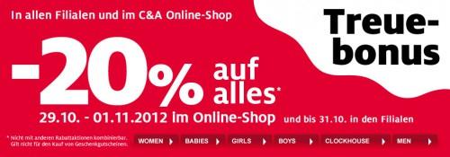 C&A Österreich: 20% Rabatt auf das gesamte Sortiment - bis 01. November