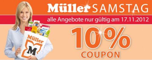 Müller Österreich: 10% Rabatt auf (fast) das gesamte Sortiment - nur am Samstag