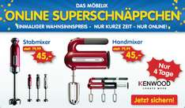 Möbelix: Handrührgerät und Stabmixer von Kenwood für jeweils 45 € und WMF-Messer ab 10,85 €