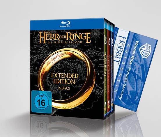 """Herr der Ringe Trilogie (Blu-ray) inkl. Kinogutschein für """"The Hobbit"""" für 35 € statt 65 € bei Tchibo *Update*"""