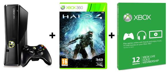 Xbox 360 Slim (250 GB) + Halo 4 + 1 Jahr Xbox Live Gold für 197 € statt 297 €