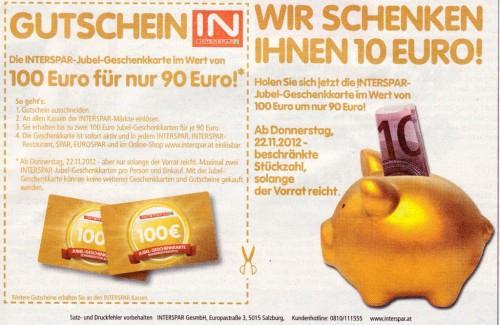 Interspar: 100 Euro Gutschein für 90 € kaufen - ab dem 22. November