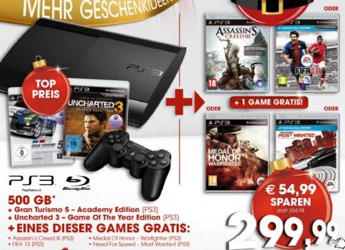 PlayStation 3 Super Slim (500 GB) + 3 Spiele für 299,99 € bei Libro