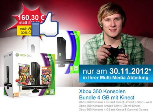 Müller: 30% Rabatt auf diverse Xbox 360 Arcade-Bundles - z.B. mit Kinect für 160,30 € statt 249 €