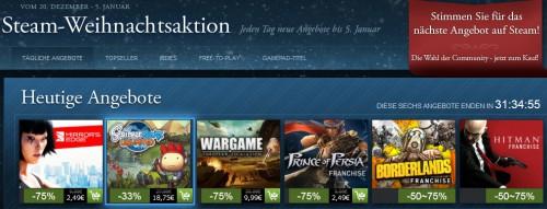 Steam-Weihnachtsaktion mit bis zu 75% Rabatt auf ausgewählte Spiele