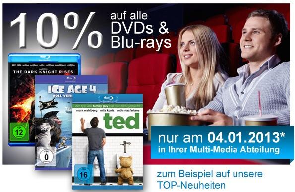 Müller: 10% Rabatt auf alle DVDs und Blu-rays - aber nur heute!