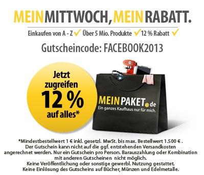 MeinPaket: Heute wieder 12% Rabatt auf das gesamte Sortiment