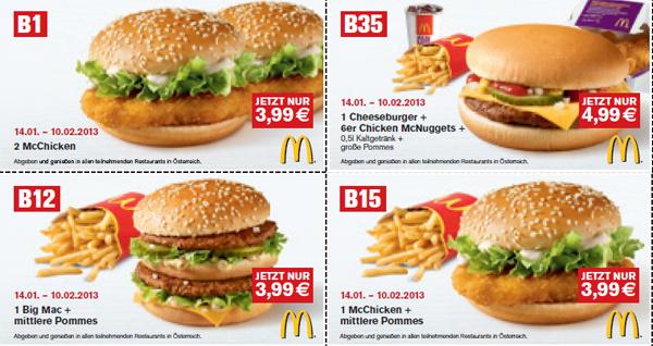 Neue McDonald's Gutscheine für Österreich – bis 10. Februar 2013 gültig