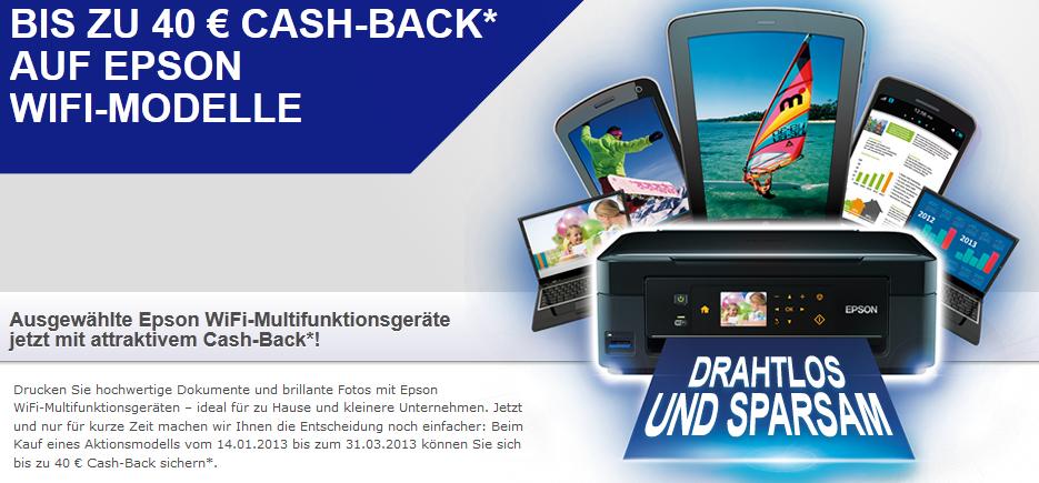Epson: Neue Cashback-Aktion mit bis zu 40 € Rabatt auf ausgewählte Drucker