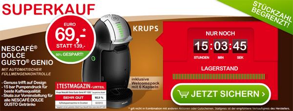 Kaffeemaschine Krups Nescafé Dolce Gusto Genio ab 72,90 € - 27% Ersparnis