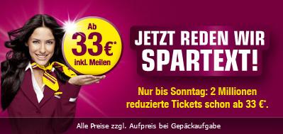 Aktionspreise bei Germanwings: 1 Million One-Way-Flüge ab 33 € *Update* jetzt bis Sonntag buchen!