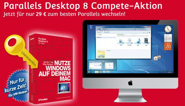 Parallels Desktop 8 (Mac) für 34,95 € statt 49 € *Update* Upgrade auf Version 9 inklusive!