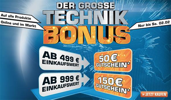 Saturn Technikbonus - Bis zu 150 Euro Gutscheinkarte geschenkt