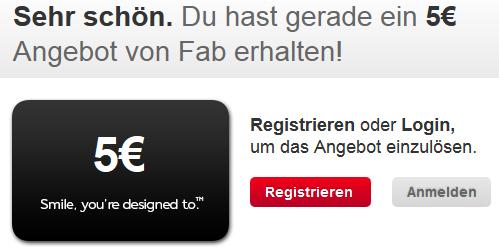 5 € Guthaben für den Shopping-Club Fab.de kostenlos - für Neu- und Bestandskunden *Update* jetzt 10 €!