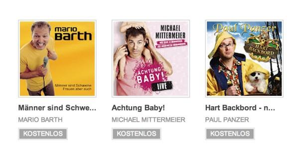 Drei Comedy-Alben bei Google Play kostenlos: Mario Barth, Michael Mittermeier, Paul Panzer