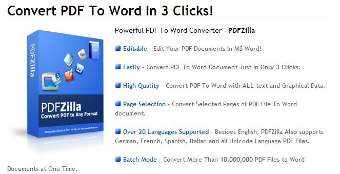PDFZilla (Windows) gratis statt 22,29 € - PDF-Dateien in viele andere Formate umwandeln