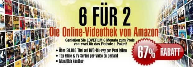 """Lovefilm 6-für-2: 6 Monate """"Flatrate 1"""" Paket zum Preis von 2 - 24 € statt 72 €"""