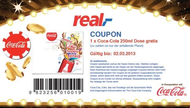 Kostenlose Coca-Cola Dose (250ml) bei Real,-